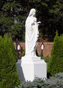Blessed Mother statue in garden